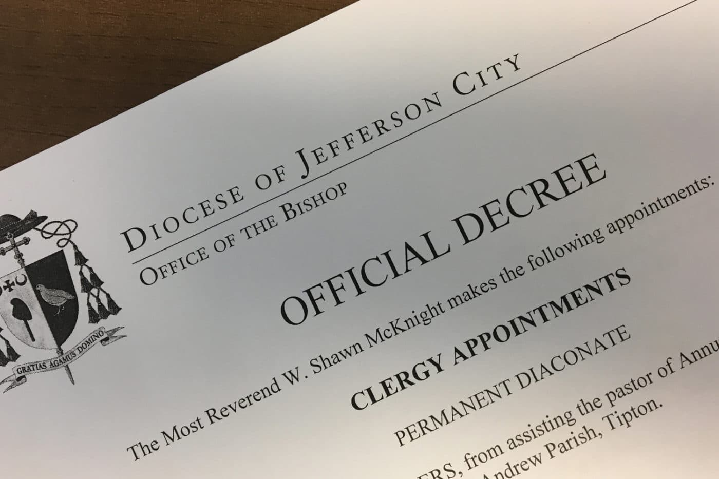 OFFICIAL DECREE: Clergy appointments
