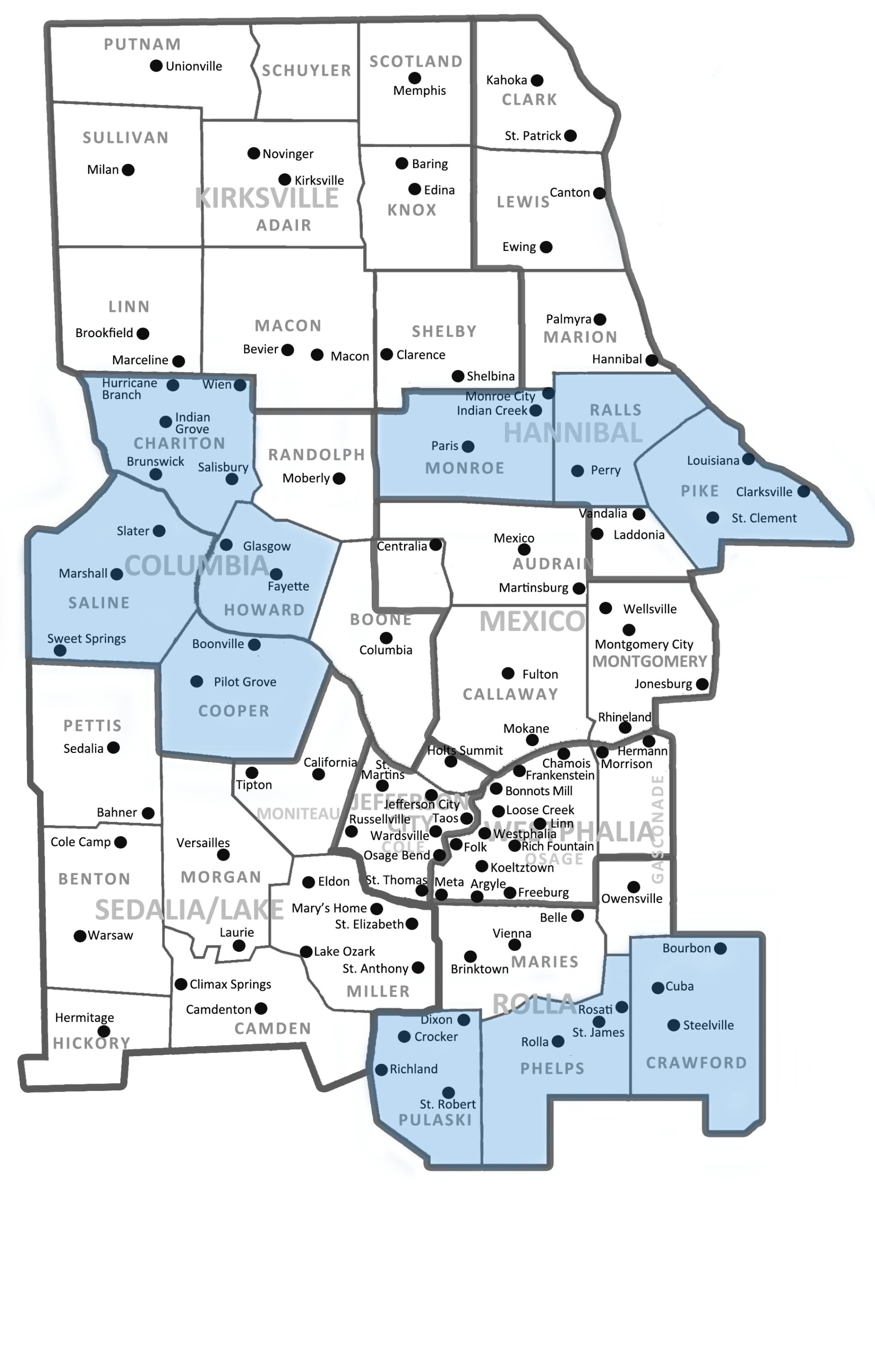 Ten Counties Highlighted Dio Map NoCounties NOBG