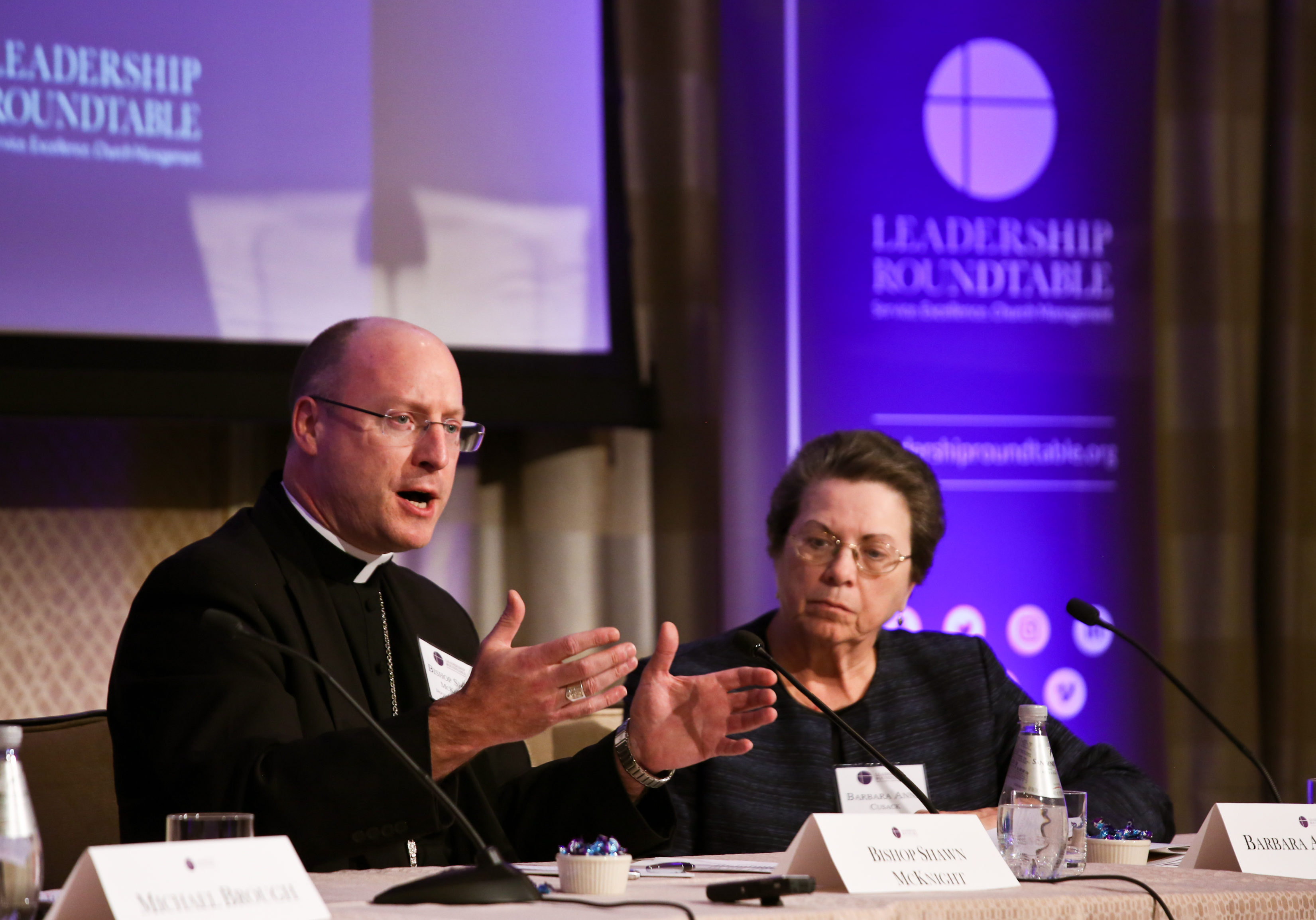 Bishop W. Shawn McKnight of Jefferson City, Mo., speaks during a Feb. 1, 2019, panel discussion at the Leadership Roundtable's Catholic Partnership Summit in Washington to put forth possible solutions to the church's sex abuse crisis. (CNS photo/Ralph Alswang, courtesy Leadership Roundtable) See SUMMIT-ABUSE Feb. 5, 2019.